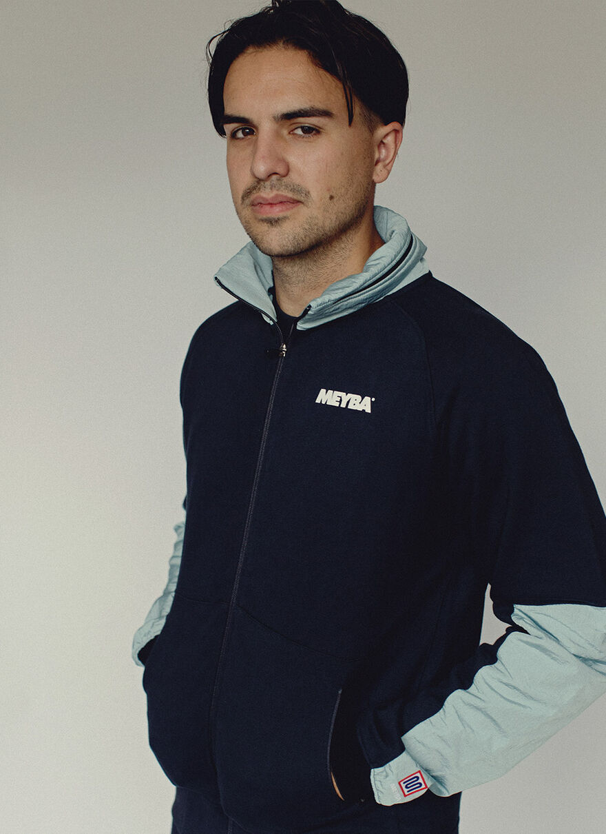 FULL ZIP NYLON TRIM SWEAT, Navy, hi-res