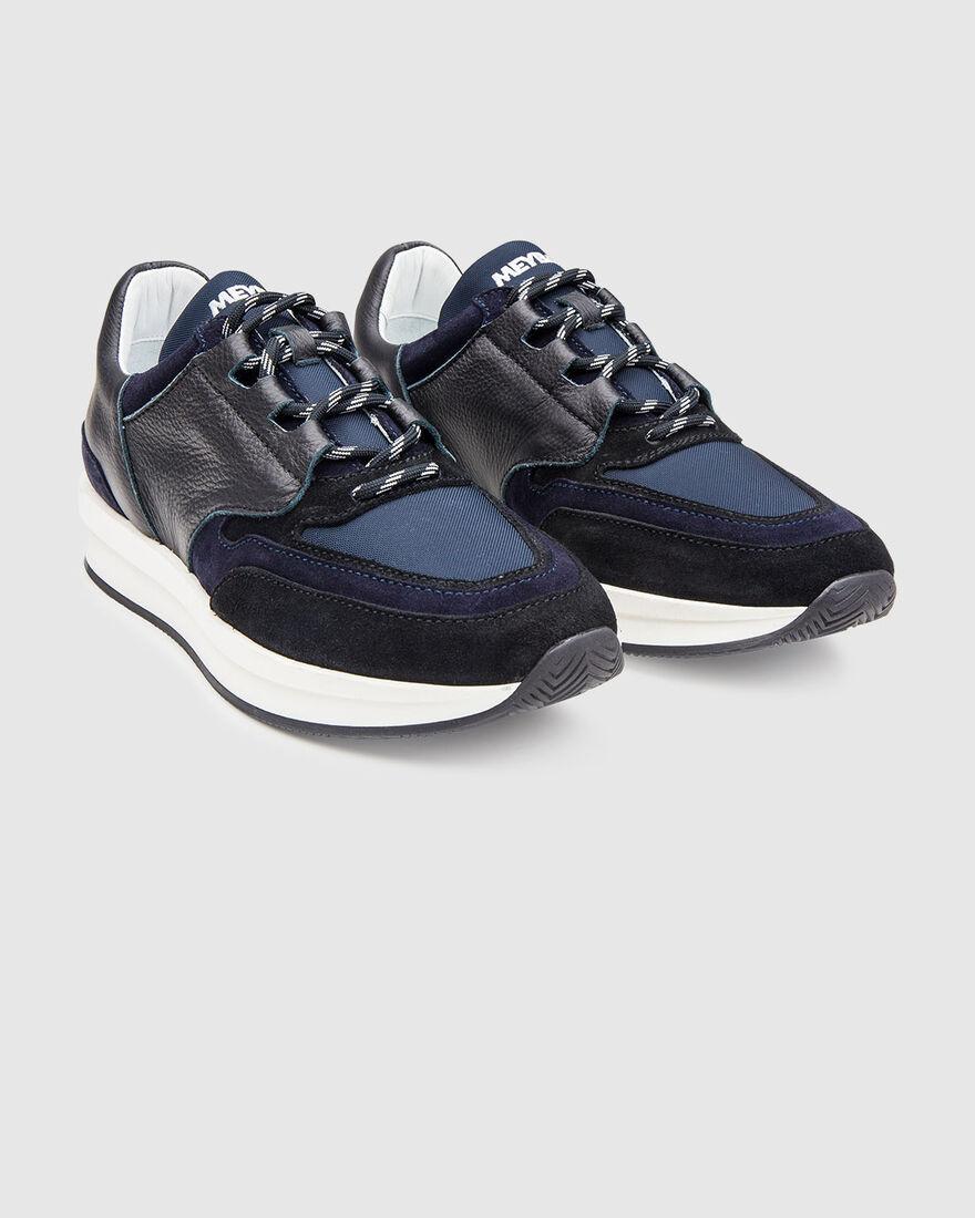 City Runner - White - Premium Textile/Soft Nappa, Navy, hi-res