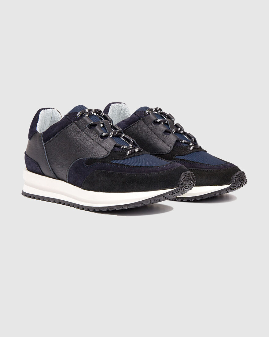 City Runner - White - Premium Textile/Soft Nappa, Navy, hi-res