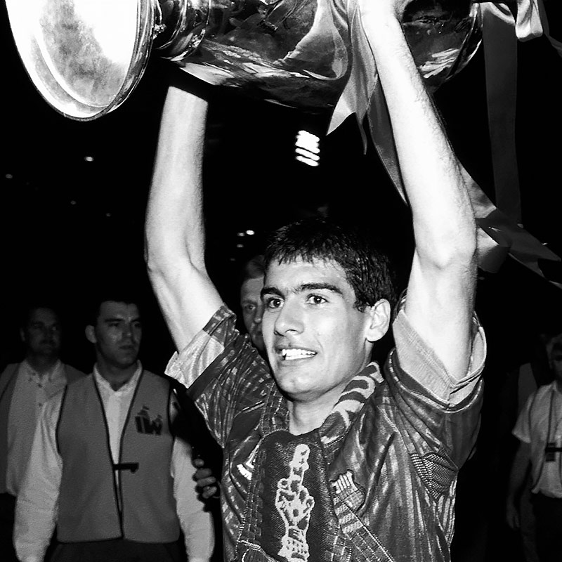 Pep Guardiola celebrating FC Barcelona's first-ever European Cup in 1992.